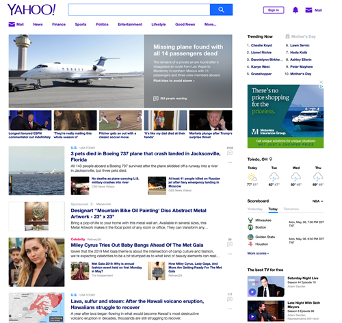 Knight Insurance digital ad in yahoo news