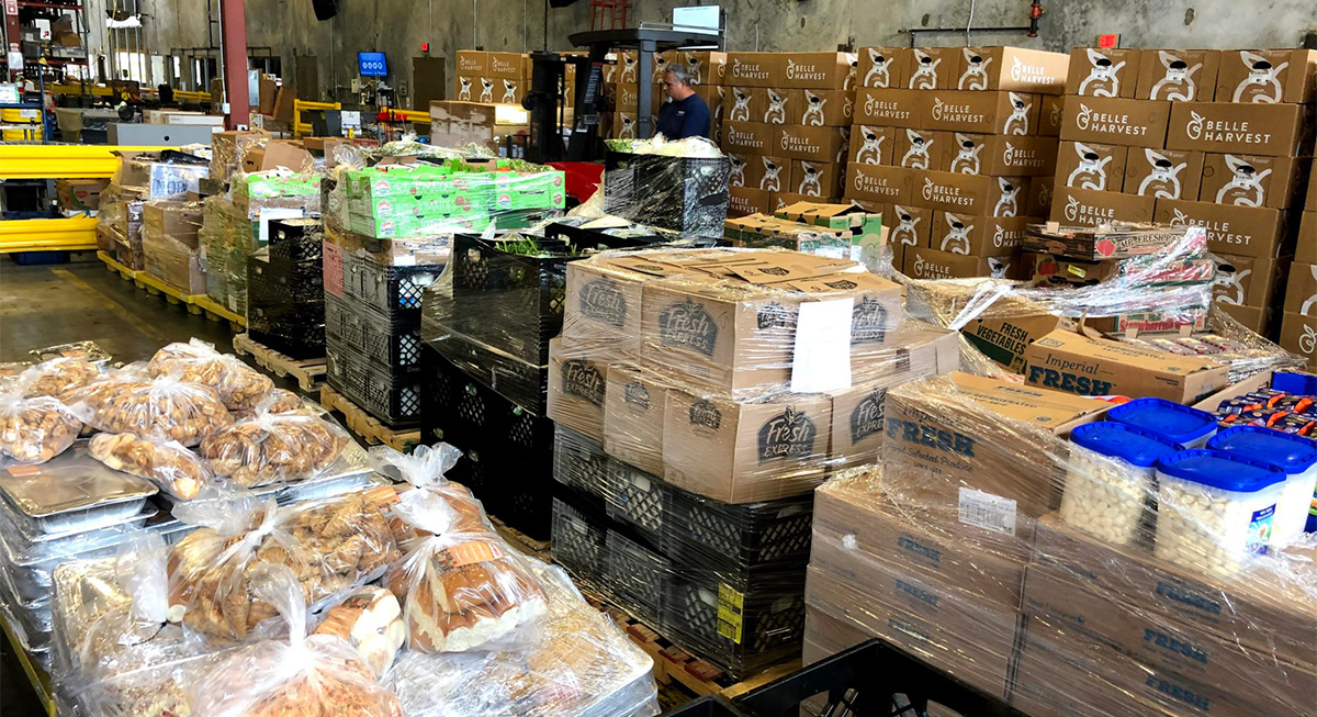 Pallets of food donated to the Second Harvest Food Bank of Central Florida by Disney.